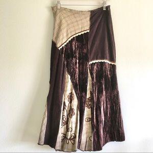 Vintage brown patchwork midi skirt